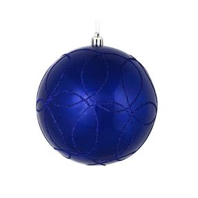 """Viola Ball Ornament 4"""" Set of 4 Cobalt"""