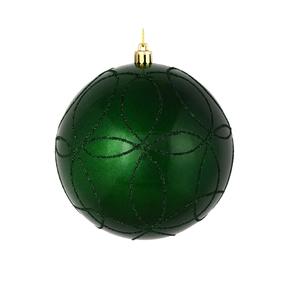 """Viola Ball Ornament 4"""" Set of 4 Emerald"""