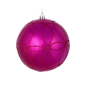"Viola Ball Ornament 4"" Set of 4 Fuchsia"