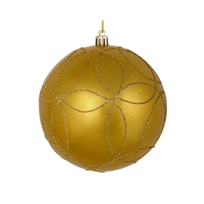 "Viola Ball Ornament 6"" Set of 3 Gold"