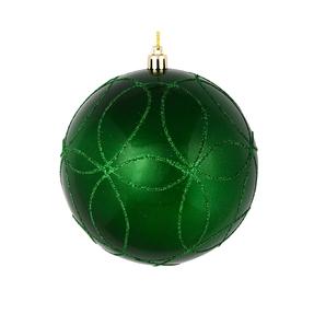 """Viola Ball Ornament 4"""" Set of 4 Green"""