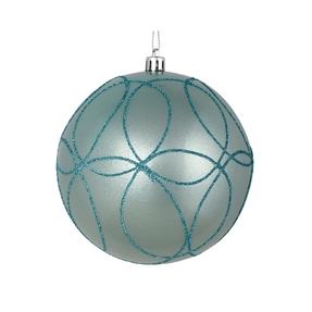 "Viola Ball Ornament 6"" Set of 3 Ice Blue"