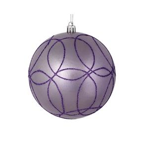 "Viola Ball Ornament 4"" Set of 4 Lavender"