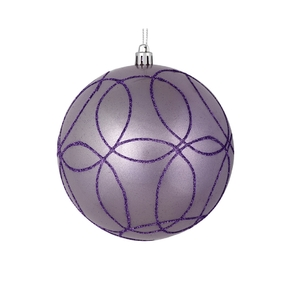 "Viola Ball Ornament 6"" Set of 3 Lavender"