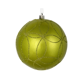 "Viola Ball Ornament 4"" Set of 4 Lime"