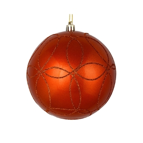 "Viola Ball Ornament 6"" Set of 3 Burnished Orange"