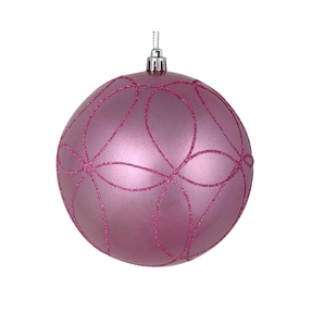 "Viola Ball Ornament 4"" Set of 4 Pink"