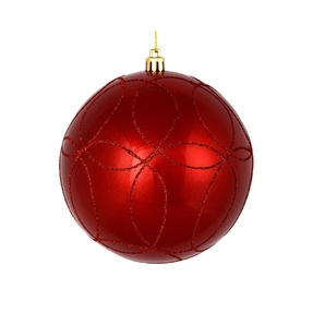 "Viola Ball Ornament 6"" Set of 3 Red"