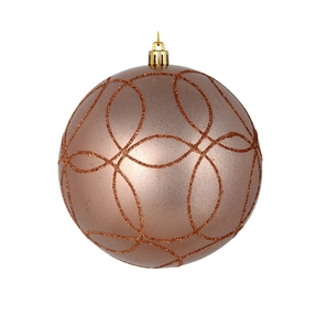 "Viola Ball Ornament 4"" Set of 4 Rose Gold"