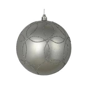 "Viola Ball Ornament 4"" Set of 4 Silver"