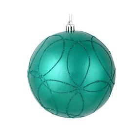 "Viola Ball Ornament 4"" Set of 4 Teal"
