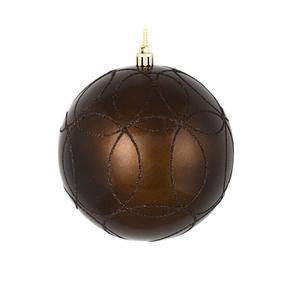 "Viola Ball Ornament 4"" Set of 4 Truffle"