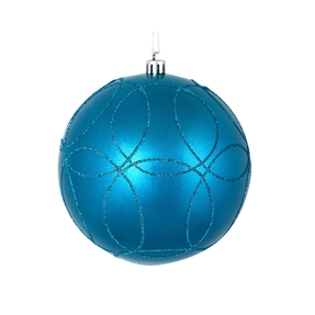 "Viola Ball Ornament 4"" Set of 4 Turquoise"
