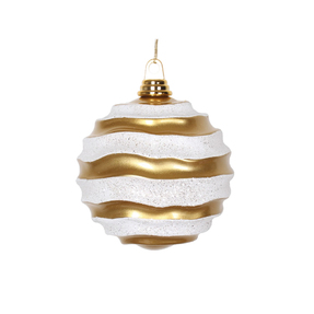 "Wave Ball Ornament 6"" Set of 4 Gold/White"