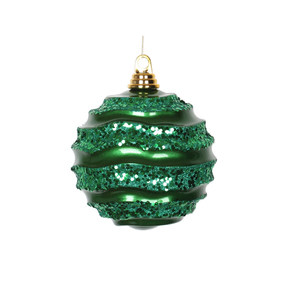 "Wave Ball Ornament 6"" Set of 4 Green"