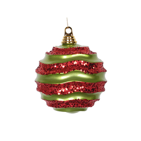 """Wave Ball Ornament 6"""" Set of 4 Lime/Red"""