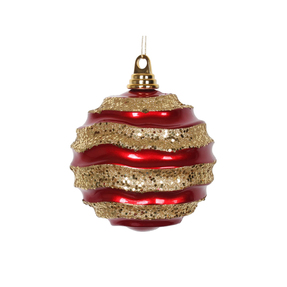 "Wave Ball Ornament 6"" Set of 4 Red/Gold"