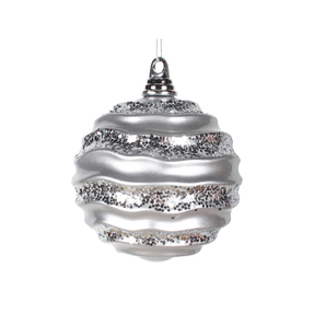 "Wave Ball Ornament 6"" Set of 4 Silver"