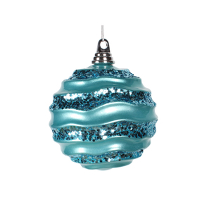"Wave Ball Ornament 6"" Set of 4 Turquoise"