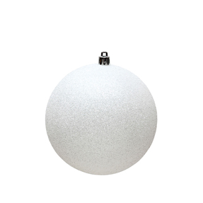 """White Ball Ornaments 4"""" Glitter Set of 6"""