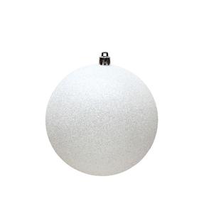 """White Ball Ornaments 12"""" Glitter Set of 2"""