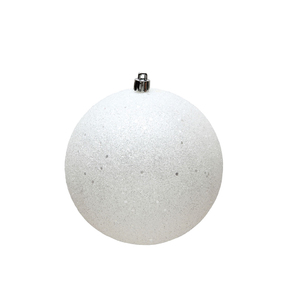 "White Ball Ornaments 4"" Sequin Set of 6"