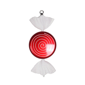 "White Swirl Peppermint Ornament 13"" Set of 2"