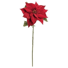 "Velvet Poinsettia Bloom 27"" Set of 6 Red"