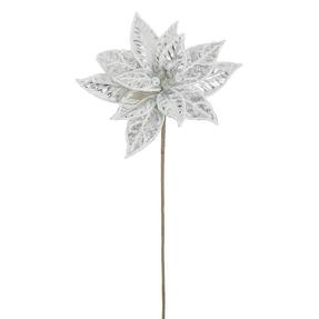 """Metallic Bead Poinsettia 20"""" Set of 12 Silver"""