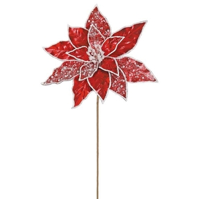 """Pearl Poinsettia Flower 20"""" Set of 12 Red"""