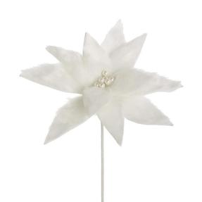 """Plush Velvet Poinsettia Flower 11"""" Set of 12 White"""