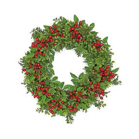 Holiday Boxwood Wreath 24""