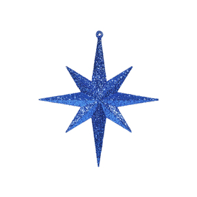 "Small Christmas Glitter Star 8"" Set of 4 Blue"