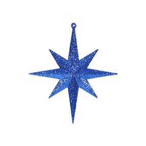 "Medium Christmas Glitter Star 12"" Set of 2 Blue"