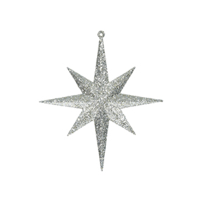 "Small Christmas Glitter Star 8"" Set of 4 Champagne"