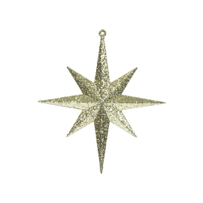 "Small Christmas Glitter Star 8"" Set of 4 Gold"