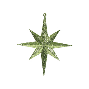 "Small Christmas Glitter Star 8"" Set of 4 Lime"