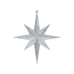 "Small Christmas Glitter Star 8"" Set of 4 Silver"