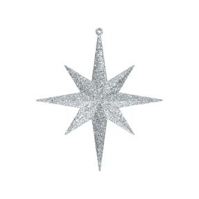 "Medium Christmas Glitter Star 12"" Set of 2 Silver"