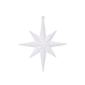 "Small Christmas Glitter Star 8"" Set of 4 White"