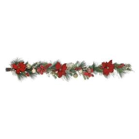 Christmas Poinsettia Garland 6'