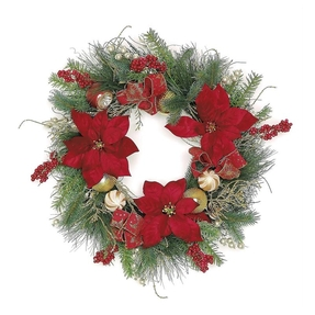 Christmas Poinsettia Wreath 24""