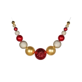 "Zoe Ball Garland 76"" Red/Gold/Champagne"