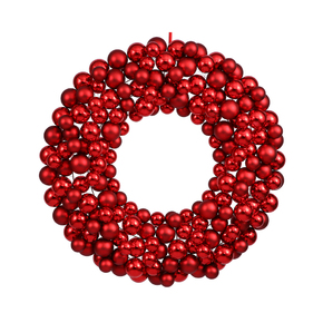 "Christmas Ball Ornament Wreath 24"" Red"