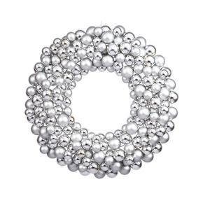 "Christmas Ball Ornament Wreath 24"" Silver"