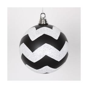 """Chevron Ball Ornament 6"""" Set of 4 Black/White"""