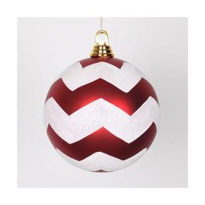 "Chevron Ball Ornament 6"" Set of 4 Peppermint"
