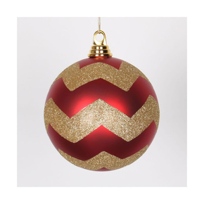 "Chevron Ball Ornament 6"" Set of 4 Red/Gold"