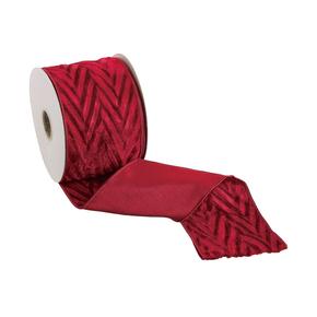 """Embossed Velvet Ribbon 4"""" Red"""