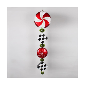 "Peppermint Drop Ornament 45"" Checker"